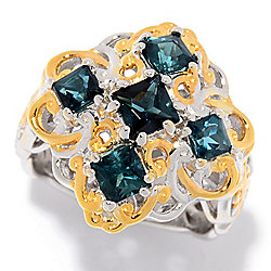 Gems en Vogue 1.47ctw Square Princess Cut Indicolite 5-Stone Ring
