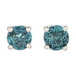 Gems en Vogue 14K White Gold Round Indicolite Stud Earrings