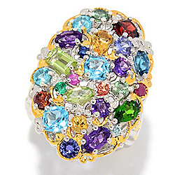"Gems en Vogue ""Carnaval"" 3.98ctw Multi Gemstone Cluster Ring"