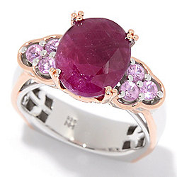 Gems en Vogue 11 x 9mm Opaque Ruby & Pink Sapphire Euro Shank Ring