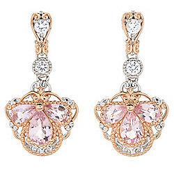 "Gems en Vogue 1"" 1.74ctw Morganite & White Zircon Drop Earrings"