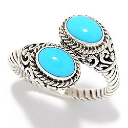 Artisan Silver by Samuel B. 7x5mm Sleeping Beauty Turquoise Bypass Ring