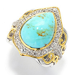 26c2d4010 Victoria Wieck Collection 16 x 12mm Kingman Turquoise & White Zircon Halo  Ring