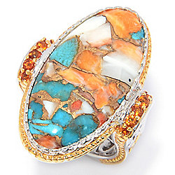 Rings  - Gems en Vogue 30 x 15mm Spiny Oyster Turquoise & Citrine Ring - 173-331