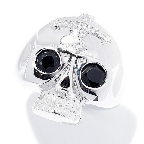 65eff0e2c438 173-366- NYC II® 1.41ctw White Zircon   Black Spinel Skull Ring