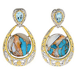 "Gems en Vogue 1.5"" Spiny Oyster Turquoise & Sky Blue Topaz Drop Earrings"