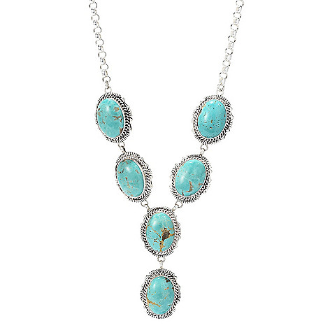 "Sunwest_Silver Museum_20"" 25_x_18mm Oval_Gemstone 6-Stone_Y-Necklace"