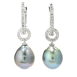 Earrings - 173-486 Kwan Collections Sterling Silver 1 Tahitian Pearl & Gemstone Drop Earrings - 173-486