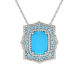 Turquoise - Gem Treasures® Sleeping Beauty Turquoise, Swiss Blue Topaz & White Zircon Pendant w Chain - 173-500