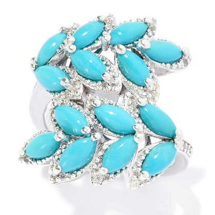 Gem Treasures Experience the Allure - 173-502 Gem Treasures® Sterling Silver Sleeping Beauty Turquoise & White Zircon Ring