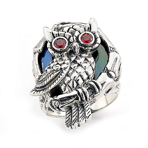 173-630- Artisan Silver by Samuel B. Freeform Black Shell & Garnet Owl Ring