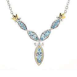 "Gems en Vogue 18"" 1.32ctw Tanzanian Aquamarine Y-Necklace"