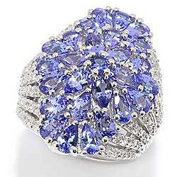 Gem Treasures® Sterling Silver 5.07ctw Tanzanite & White Zircon Flower Ring