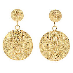 "Gold of Distinction™ 14K Gold 1"" Wire Wrapped Sun Medallion Earrings"