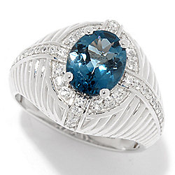NYC II® Men's 3.43ctw London Blue Topaz & White Zircon Ring