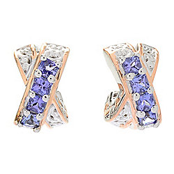 Gems en Vogue Princess Cut Tanzanite Crisscross Huggie Hoop Earrings