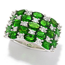 Chrome Diopside - Gem Treasures® Sterling Silver 4.89ctw Chrome Diopside & White Zircon Band Ring - 173-973