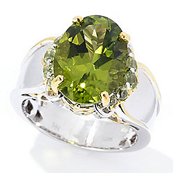 Gems en Vogue 6.72ctw 14 x 10mm Oval Peridot Cocktail Ring