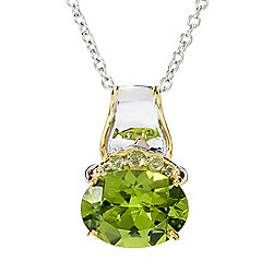 "Gems en Vogue 6.54ctw Peridot East-West Pendant w/ 18"" Cable Chain"