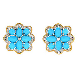 Gems en Vogue Sleeping Beauty Turquoise Cluster Flower Stud Earrings