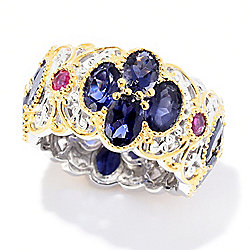 Gems en Vogue 6.84ctw Iolite & Mozambique Ruby Eternity Band Ring