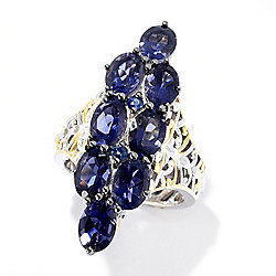 Gems en Vogue 5.98ctw Iolite & Royal Blue Sapphire Elongated Ring