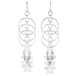 "Dominique Dinouart Designs Sterling Silver 3.25"" Hoops & Stars Drop Earrings, 8.1 grams"