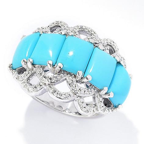 83e6cb3fbf7daf Gem Treasures® Sleeping Beauty Turquoise & White Zircon Band Ring ...