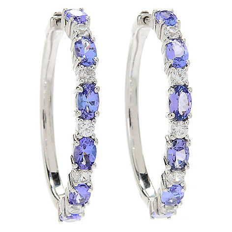 174 406 Gem Treasures Sterling Silver Choice Of Length Tanzanite White Zircon