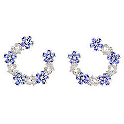 "Gem Treasures® Sterling Silver 1.25"" 6.09ctw Tanzanite & White Zircon Earrings"