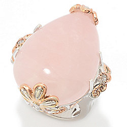 Gems en Vogue 30 x 20mm Rose Quartz & White Zircon Cocktail Ring
