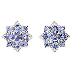 Gem Treasures® Sterling Silver 1.48ctw Tanzanite & Gemstone Flower Stud Earrings
