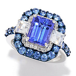 23316478f9dae4 Gem Treasures® 14K White Gold 4.32ctw Step Cut AAA Tanzanite & Multi  Sapphire Ring