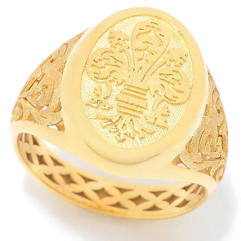 4c6dbf91a Stefano Oro 14K Gold Italian City Crest Filigree Signet Ring, 2.7 grams
