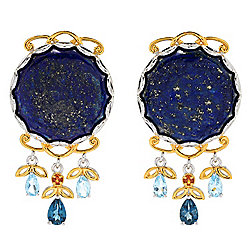 "Gems en Vogue 1.5"" 20mm Round Lapis & Multi Gemstone Stud Earrings"