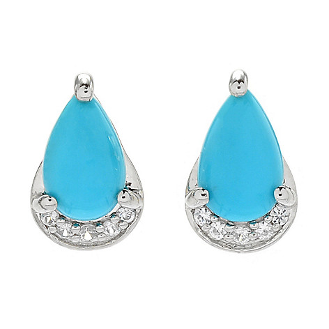 5250ee6fa 174-920- Gemporia Sleeping Beauty Turquoise & White Zircon Stud Earrings