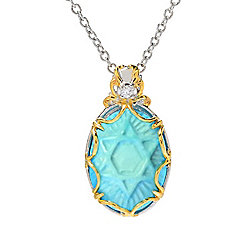 Gems en Vogue Final Cut Kingman Turquoise & White Zircon Star of David Pendant w 18 Cable Chain - 174-931