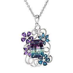 "NYC II® 10.39ctw Bi-Color Fluorite & Multi Gemstone Flower Pendant w/ 18"" Cable Chain"