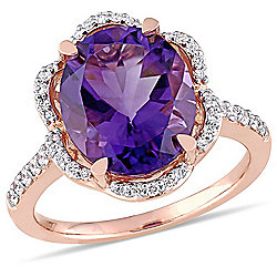 Julianna B 14K Rose Gold 4.48ctw African Amethyst & Diamond Scalloped Halo Ring - 175-096