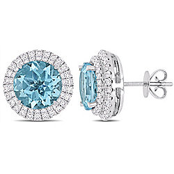 Julianna B 14K White Gold 6.83ctw Sky Blue Topaz & Diamond Double Halo Stud Earrings