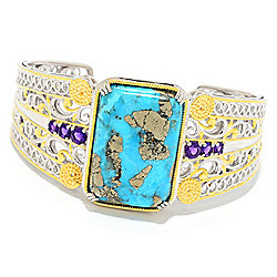 Turquoise - Gems en Vogue 6.75 30 x 20mm Pyrite Turquoise & African Amethyst Cuff Bracelet - 175-152
