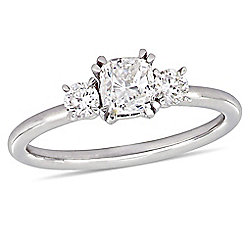 Julianna B 14K White Gold 0.97ctw Cushion & Round Cut Diamond 3-Stone Engagement Ring - 175-163