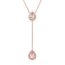 Up to 40% off Rose Gold at Evine - 175-178 Fierra™ 14K Rose Gold 18-inch 2.16ctw Morganite & Diamond Double Drop Necklace - 175-178