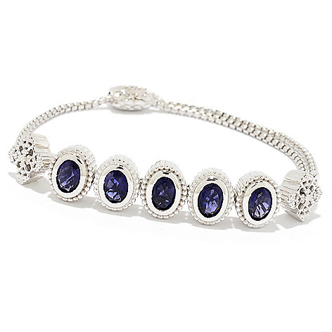 21724b2ff6dd 175-197- Dallas Prince Sterling Silver Oval Gemstone Adjustable Slide  Bracelet