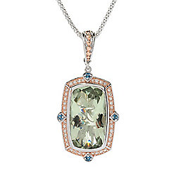Dallas Prince 19.38ctw Prasiolite & Multi Gemstone Pendant w/ Chain