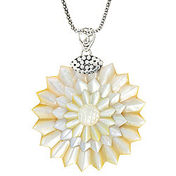 Artisan Jewelry by Samuel B. at ShopHQ | 175-255 Artisan Silver by Samuel B. 52mm Carved Mother-of-Pearl Flower Pendant - 175-255