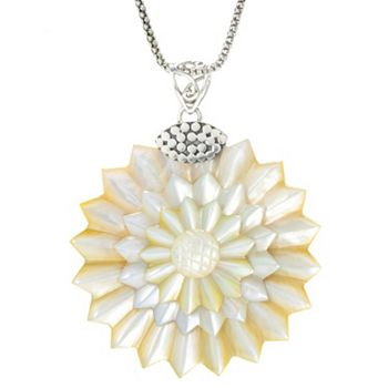 Mother-of-Pearl Opulence Starts at $30 - 175-255 Artisan Silver by Samuel B. 52mm Carved Mother-of-Pearl Flower Pendant - 175-255