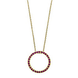 Amore - EFFY Amore 14K Gold Ruby Circle Pendant w 18 Cable Chain - 175-386