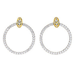 "Gems en Vogue 1.25"" 3.87ctw White Zircon Front Facing Hoop Earrings"