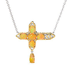 Up to 65% off Holiday Specials at Evine - 175-495 Gems en Vogue 18-inch Golden Opal Choice of Icon Cluster Necklace w 2 Extender - 175-495